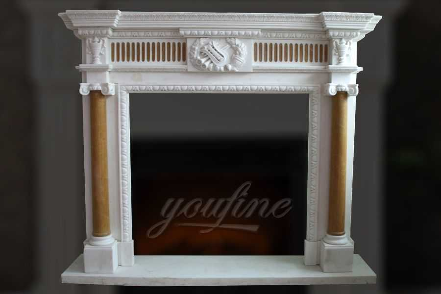 Indoor unique Georgian multi color marble fireplace surround