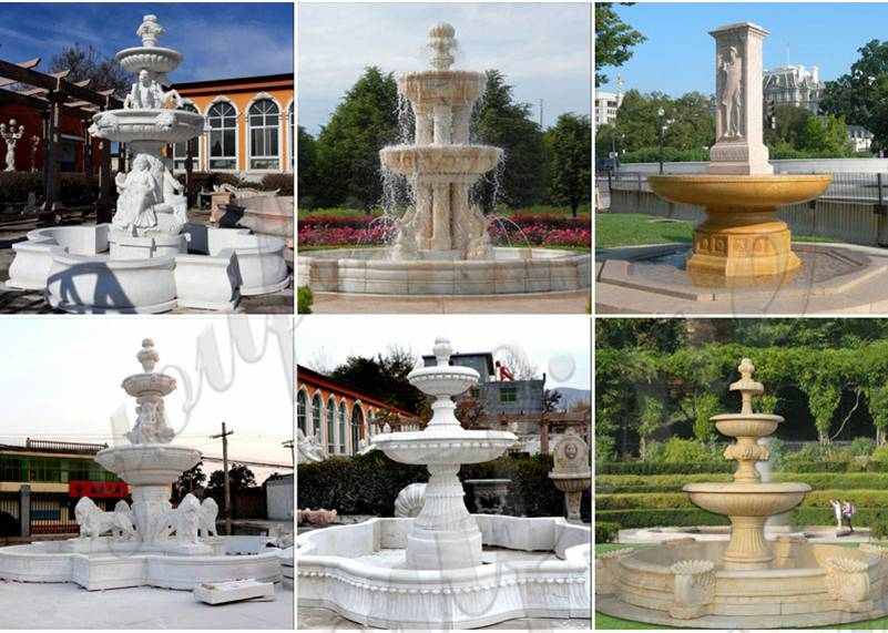 Large Animal Outdoor White Marble Lion Fountain for Sale