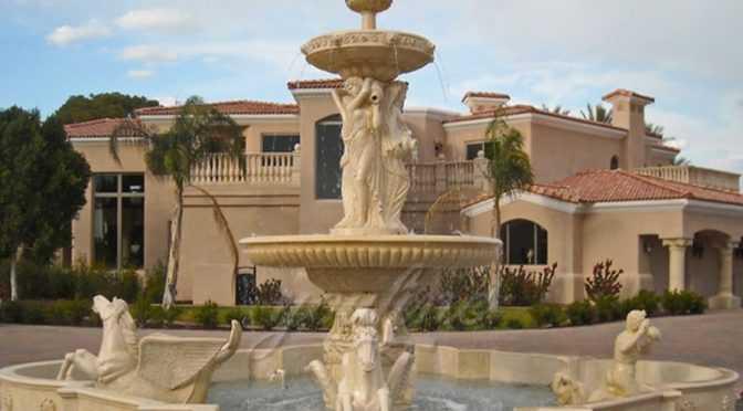 Large Garden Beige Marble Horse Outdoor Water Fountain