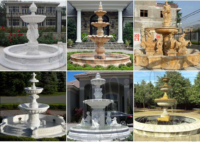 Large Outdoor White Marble Fountain for Sale