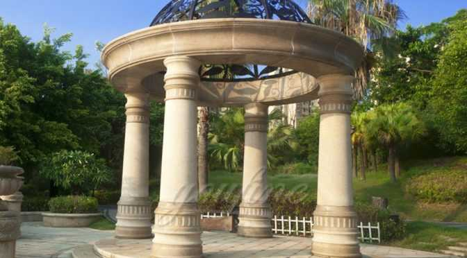 Large hot sale beige marble gazebo for sale–MSMG-03