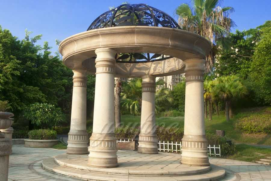 Large outdoor hot sale beige marble gazebo for sale MSMG-03