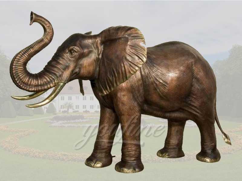 Life size bronze elephant sculpture