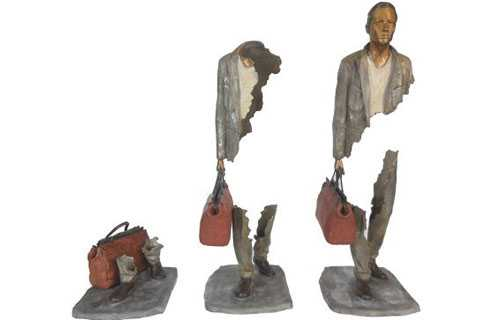 Life size bronze sculpture Bruno Catalano travelers for sale