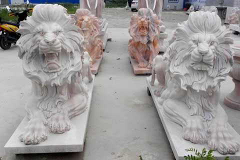 Life size entrance paired white marble lying and roaring lion statues for lawn ornaments for sale--MOKK-90