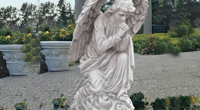 Life size hand carved kneeling angel marble statues with wings