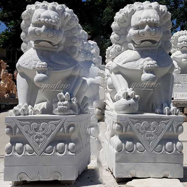 Life size marble chinese foo dog garden ornaments lion statues for front porch for sale--MOKK-116
