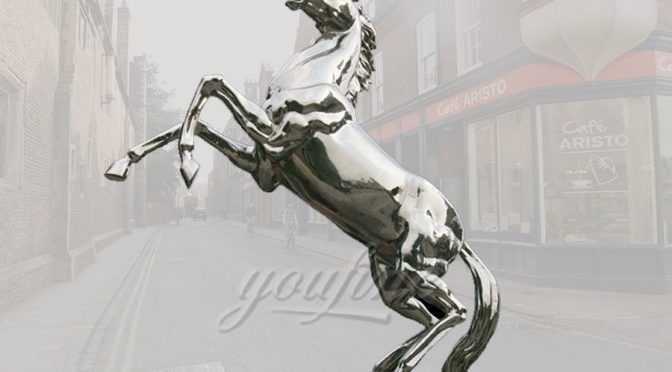 Life size stainless steel horse sculpture