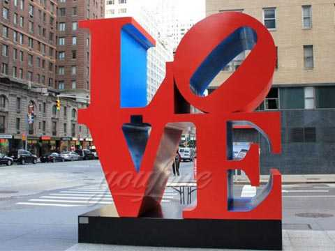 Love stainless steel sculpture red-1