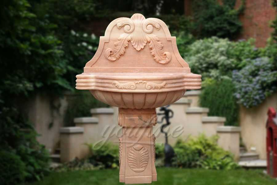 Luxury beige marble floral wash hand basin on sale
