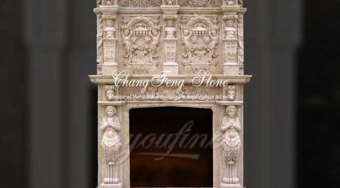 Luxury decorative beige marble fireplace over mantel for sale
