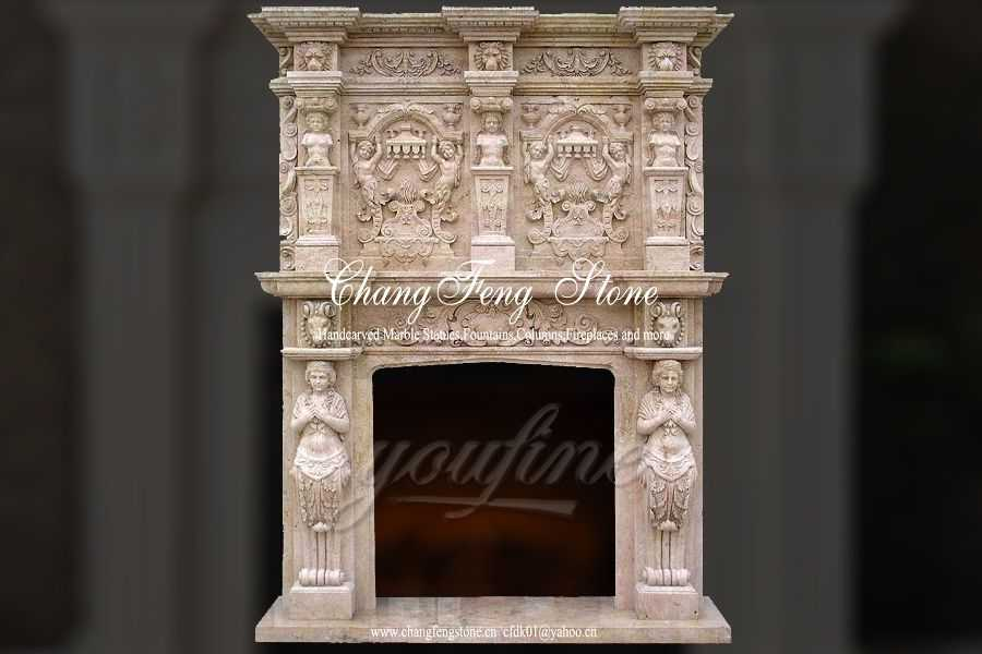 Luxury decorative beige marble fireplace over mantel for for Marble mantels for sale