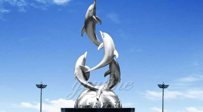 Mirror polished stainless steel dolphin sculpture