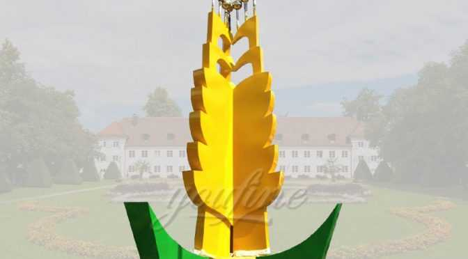 Modern art stainless steel golden wheat sculpture