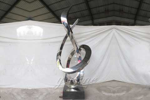 Modern large outdoor stainless steel abstract sculpture for outdoors