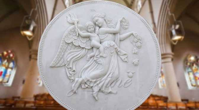 Natural Marble Stone Carved Wall Angel Relief Sculptures