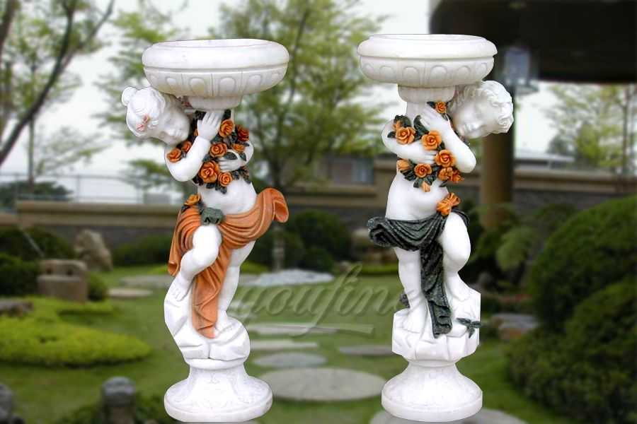 Natural marble planter with boy statue