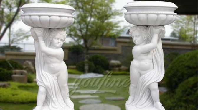 Outdoor Garden White Marble Carving Planters