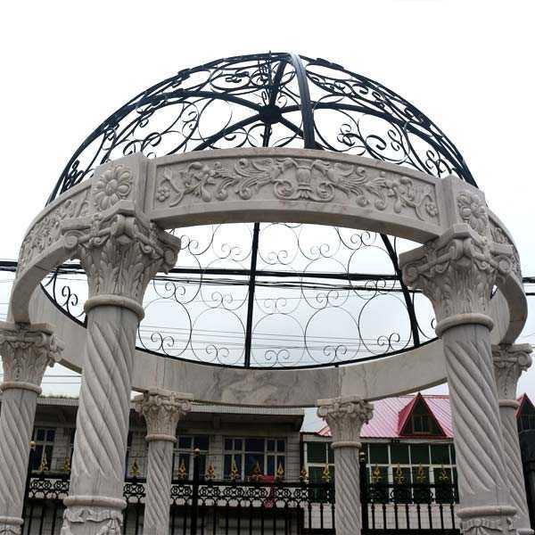 Outdoor Garden white stone marble gazebo for wedding