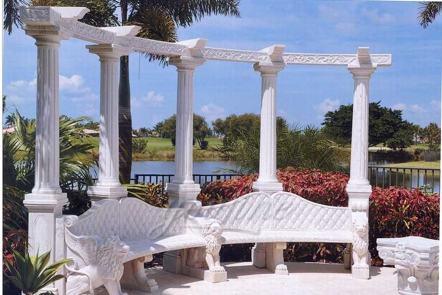 Outdoor garden decorative marble gazebo with bench–MOKK-91