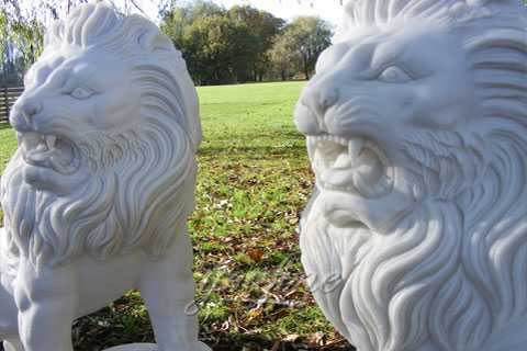 Outdoor garden stone marble lion statue for front porch