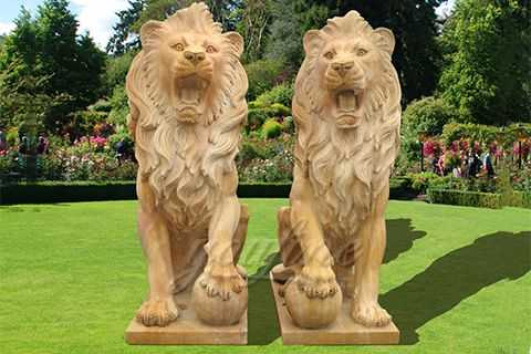 Outdoor hand carved life size lion statue MAWL-05