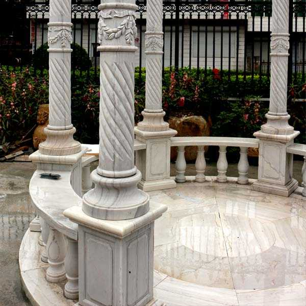 Outdoor hand carved white stone marble gazebo for wedding