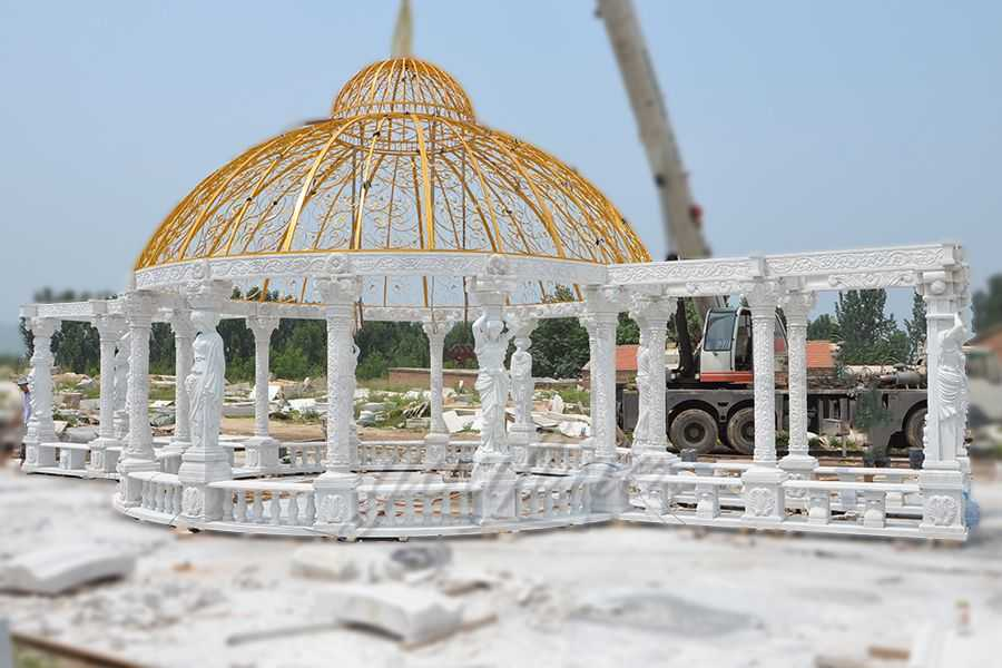 Outdoor luxury Large garden marble gazebo for decoration–MOKK-32