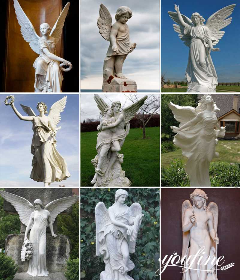 Outdoor marble angle garden statues