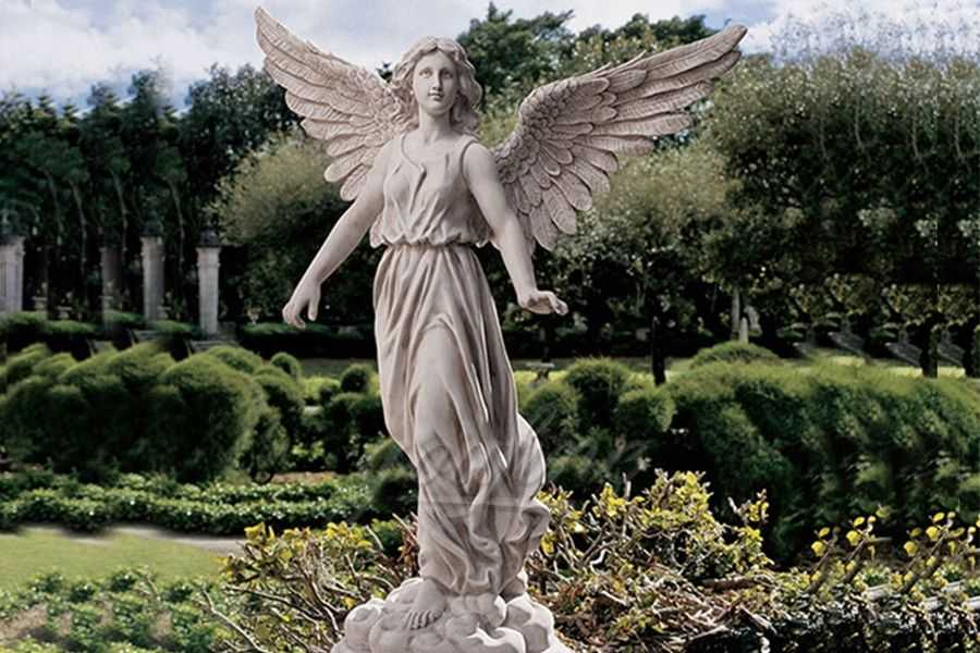 Outdoor big marble angle statues with wings MSAS-06