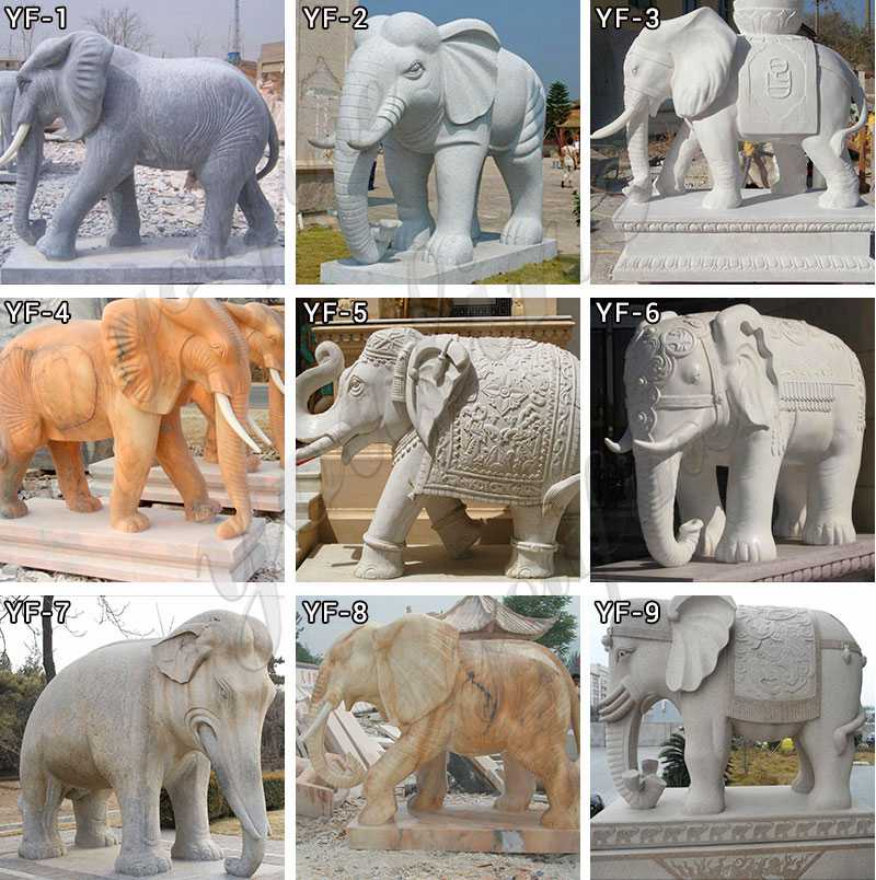 Outdoor natural carved marble elephant statue