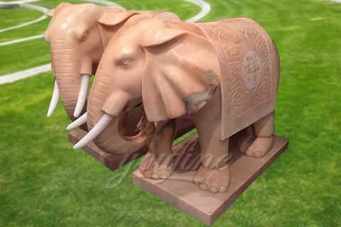 Outdoor natural carved marble elephant statue MAME-03