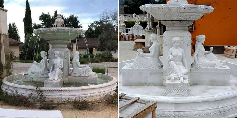 Outdoor white figure life size tiered water white marble fountains design for our american friend's front yard for sale