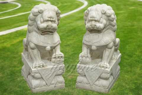 Outdoor white marble fu dog statue