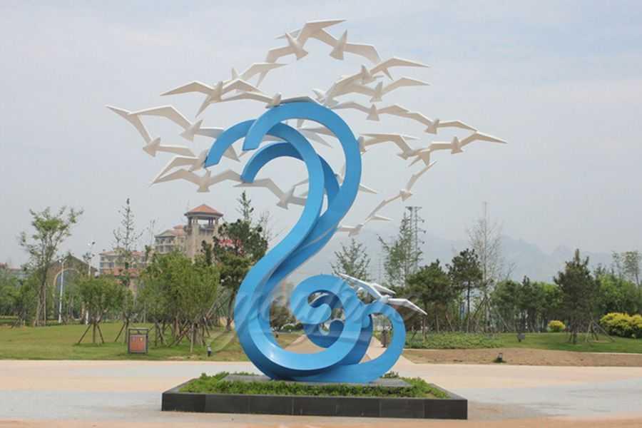 Painted stainless steel ocean bird sculpture