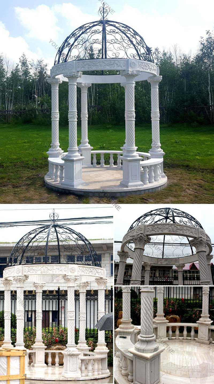 Popular classical design stone white marble gazebo for wedding decor