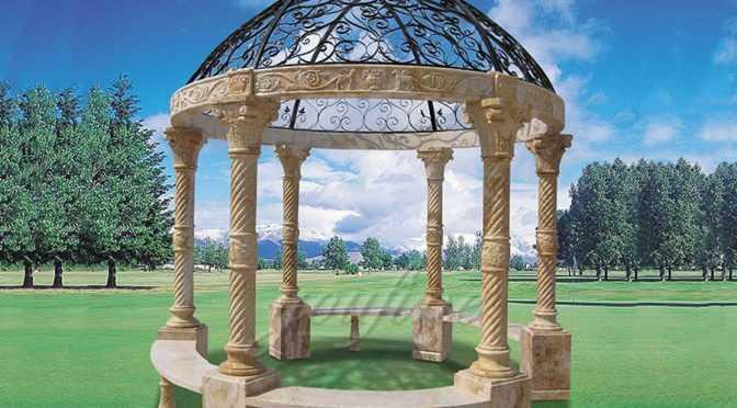 Popular roman column marble carving garden luxury gazebo