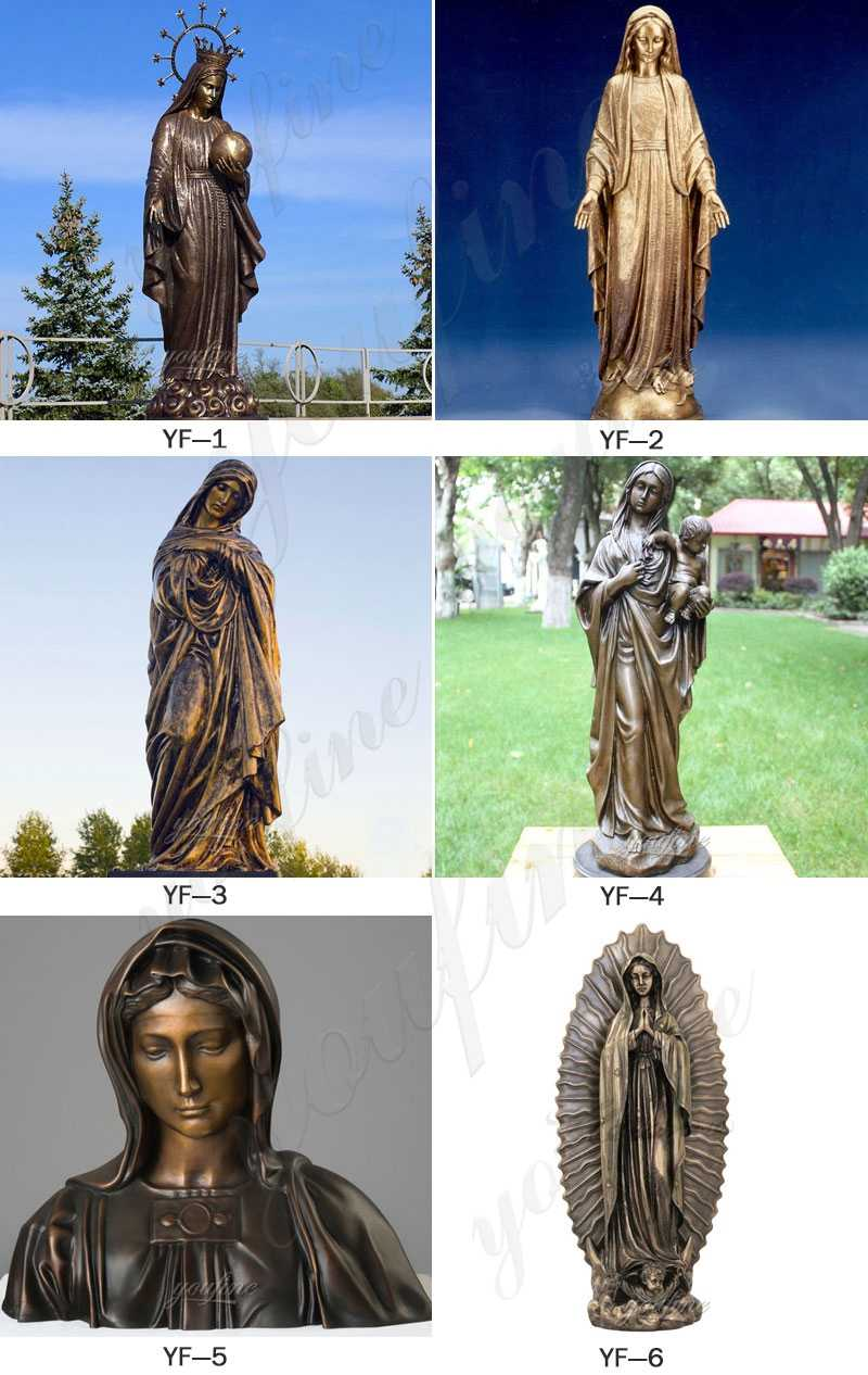 Religious Bronze Mary and Baby Jesus Statue for Church