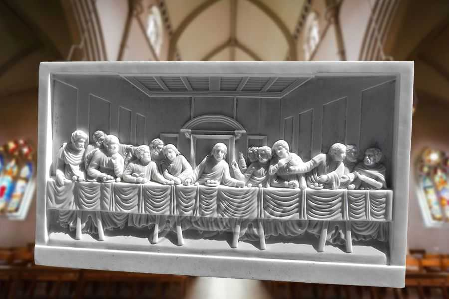 Decorative Religious Theme The Last Supper Marble Relief Sculpture