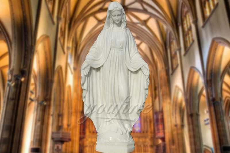 Saint White Marble Mary Statue