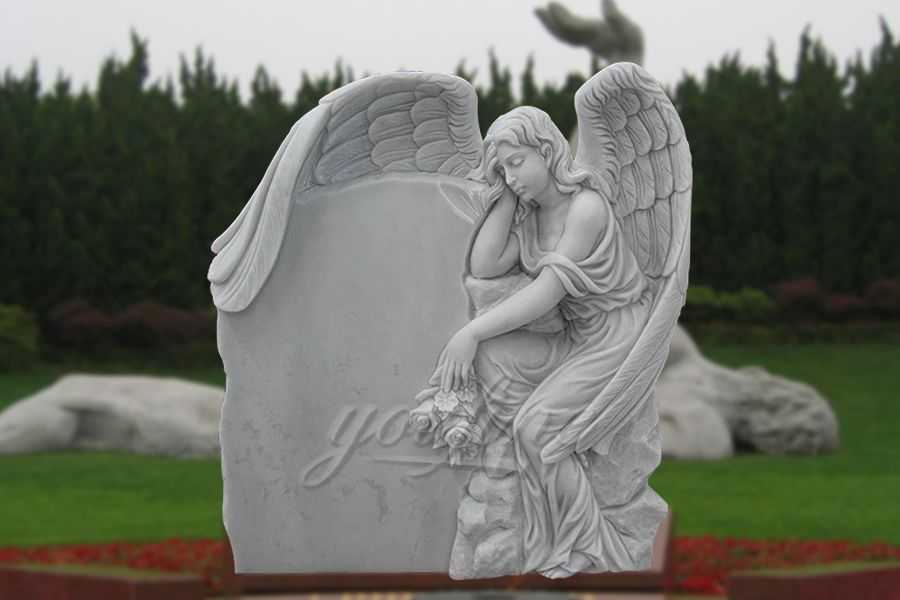 Sleeping White Angel Marble Headstone for Sale MHMH-03