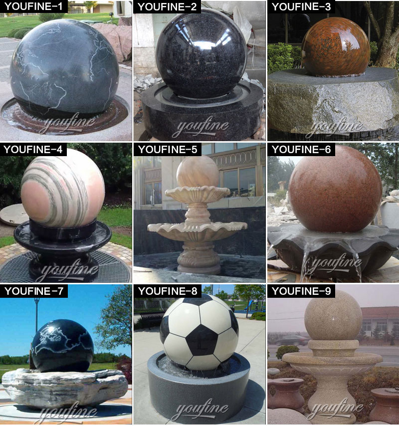 Stone Rolling Sphere Limestone Water Fountain with World Map Figure