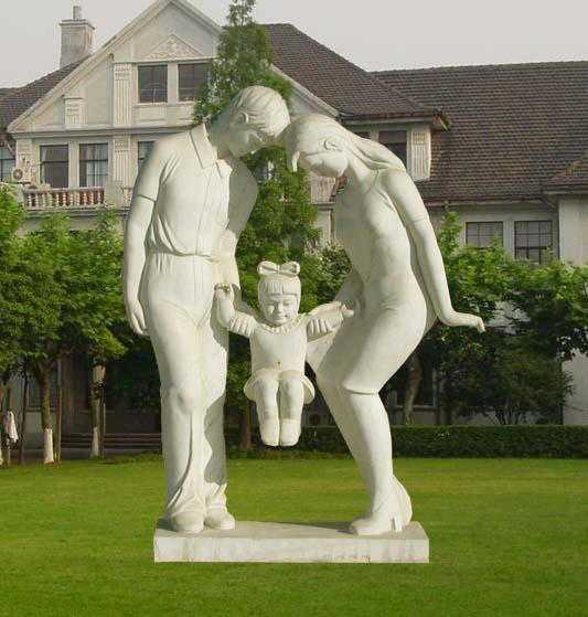Outdoor Decorated White Marble Parents and Child Sculpture