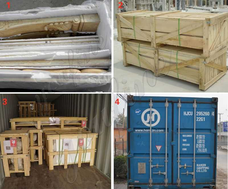 The Packing of Victorian beige marble fireplace mantel