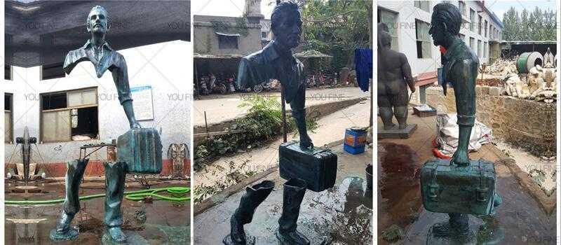 abstract bronze traveler sculpture
