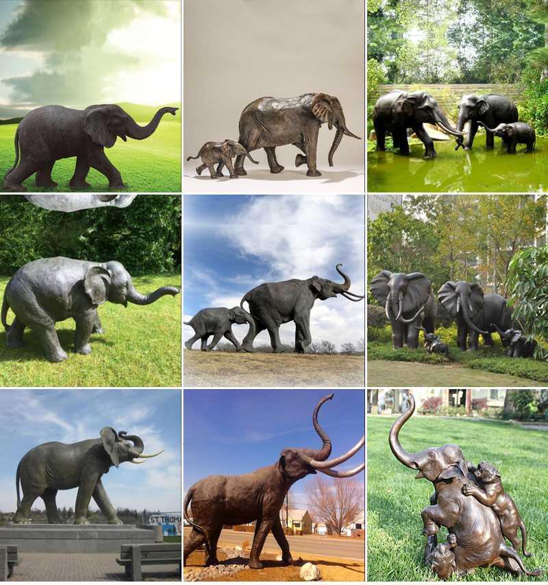 bronze elephants sculpture