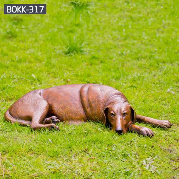 custom dog statues outdoor life size antique bronze dog sculpture lawn ornament for sale for British customer--BOKK-317