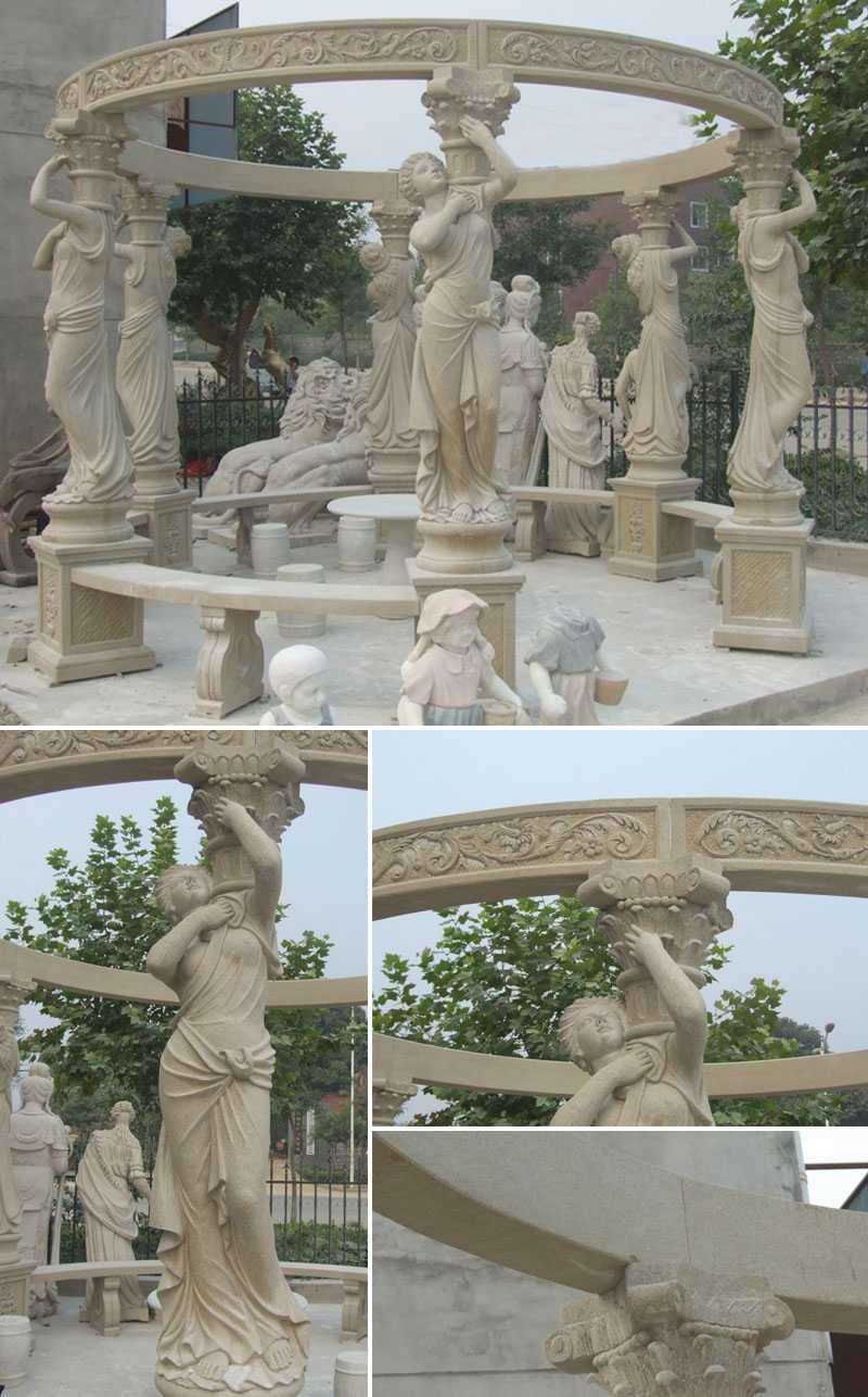 home depot high quality outdoor Egyptian beige marble pavilions gazebo designs for wedding ceremony decoration for sale