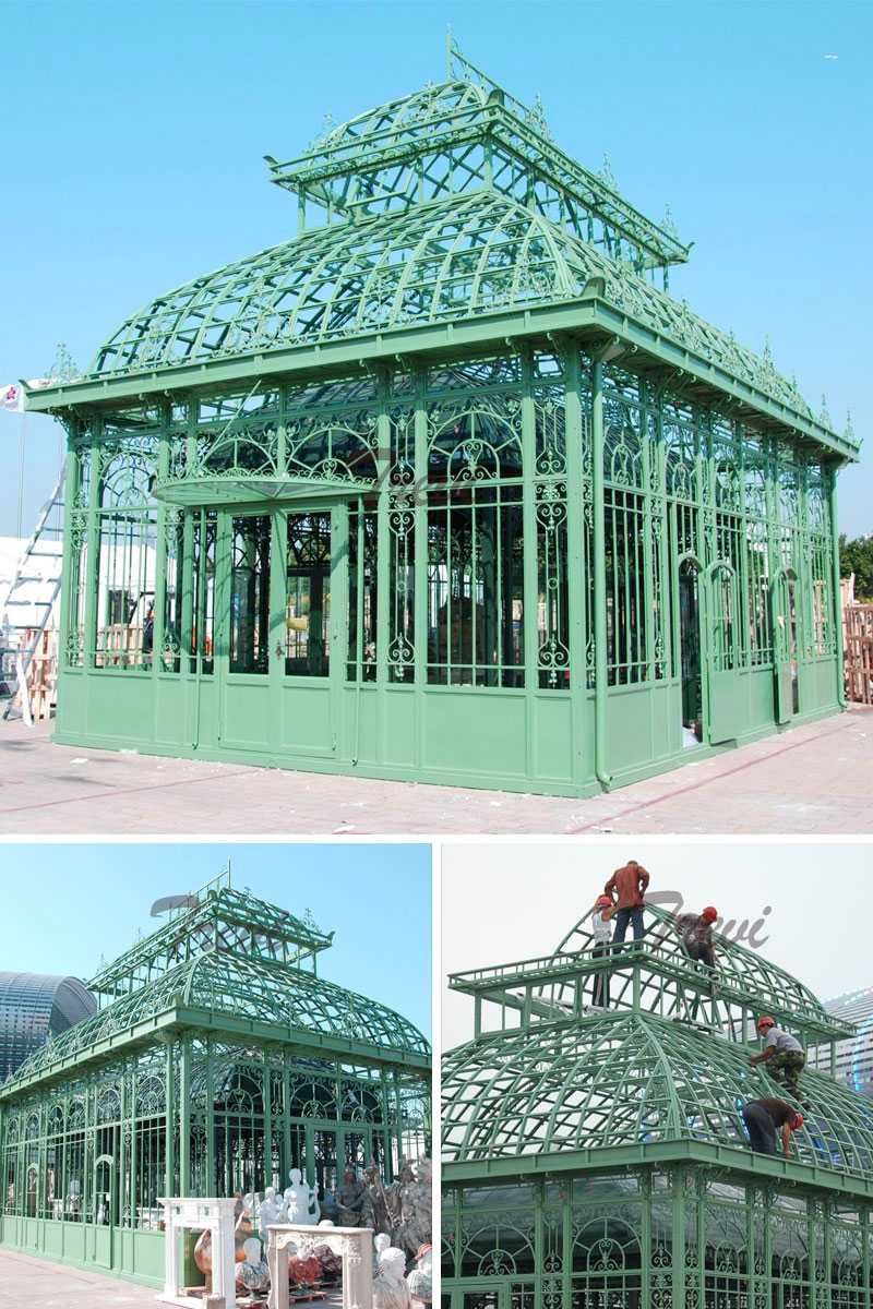 large outdoor wrought iron gazebo designs for garden decoration for sale
