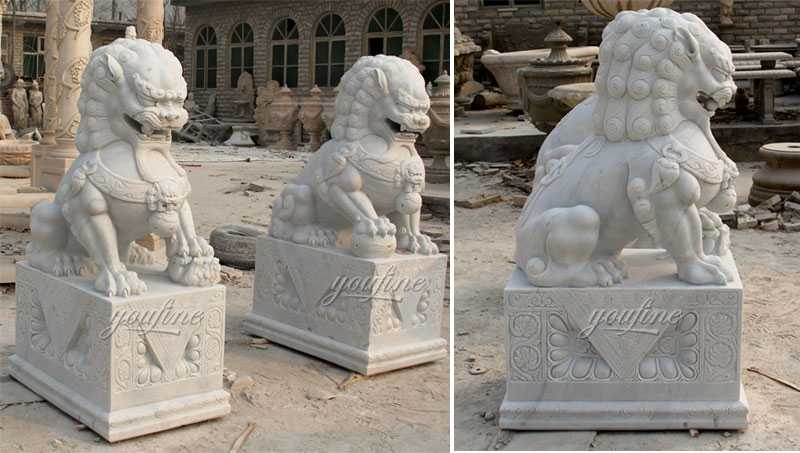 life size marble foo dog lion statue for front porch for sale